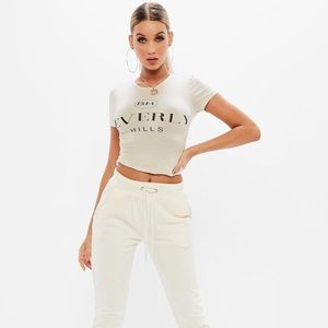 Misguided Beverly Hills T-shirt - Nude